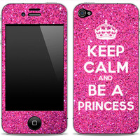 Pink Glitter Keep Calm And Be A Princess iPhone 4, 4s, 5 or iPod Touch Skin FREE SHIPPING