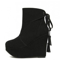 Black Tassels high-heeled fashion boots  Solid Pop  style 0701003 in