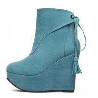 Light blue Tassels high-heeled fashion boots  Solid Pop  style 070100301 in