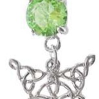 Lt Green Celtic Knot Tribal V Tear dangle Belly navel Ring piercing bar body jewelry 14g