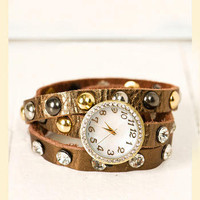 Spare Time Leather Watch in Bronze - Francesca's Collections