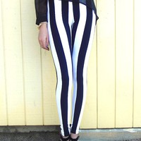 leggings beetlejuice stripes