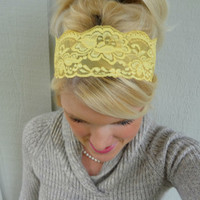 Goldenrod yellow stretch lace headband feminine/romantic/classic