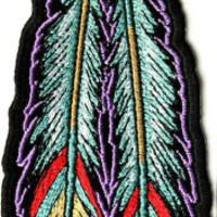 Tribal Feathers Patch, 2.25x6.5 inch, small embroidered iron on ladies patch