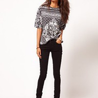 ASOS T-Shirt with Oversize Baroque Print at asos.com