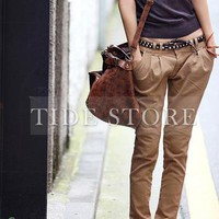 Smart Leisure Split Joint Middle Waist Casual Pants: tidestore.com