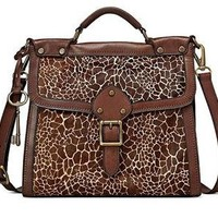 Fossil Giraffe Calf Hair VRV Flap BRN Messenger Satchel Handbag NEW !