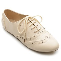 Ollio Women's Classic Dress Oxfords Low Flats Heels Lace Up Beige Shoes
