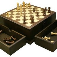 "Amazon.com: Pamela 9"" Pull Apart Walnut Chess Set: Home & Kitchen"