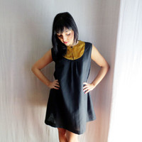 Black linen tunic dress with mustard bib - bib dress black dress aline dress womens tunic