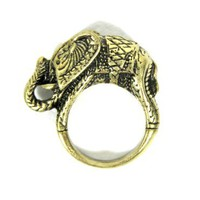 Etched Elephant Ring Size 7.5 Safari Africa Jungle Animal Wildlife Tribal Cocktail Fashion Jewelry