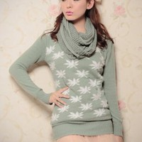 New Feel Maple Shape Knit Green Sweaters Fashion : Wholesaleclothing4u.com