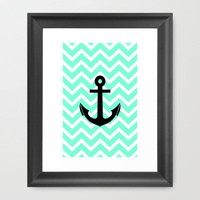 Tiffany Chevron Anchor Framed Art Print by Rex Lambo | Society6