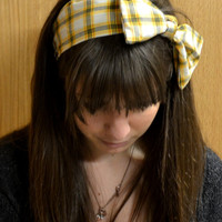 Yellow and Grey Plaid Headband