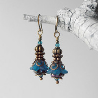Lucite Flower Earrings Blue Vintage Style Dangles Beaded Jewelry Antiqued Bronze Handmade Earrings Gifts for Her Under 25