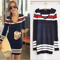 Fashion Sexy Women Casual V-Neck Sweater Long Sleeve Tunic Knit mini dress Tops