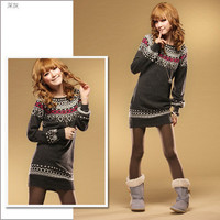 Vintage Girls Fashion Casual Womens Sweater Long Sleeve Top Jumper Pullover S