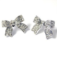 I&#x27;m A Cute Little Princess Ribbon Pave&#x27; Earrings (Clear Crystals)