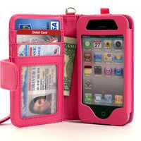 Folio Wallet iPhone 4 iPhone 4S Case for AT&amp;T Verizon &amp; other carriers - Hot Pink - Multifunctional 