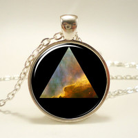 Galaxy Triangle Necklace, Hipster Nebula Jewelry, Universe Pendant (1155S1IN)