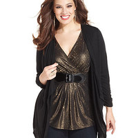 Style&co. Plus Size Top, Three-Quarter-Sleeve Metallic Layered Look - Plus Size Tops - Plus Sizes - Macy's