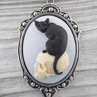 NEW Bad Kitty - Cat and Skull Morbid Cameo Necklace