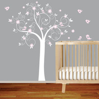 White Swirl Tree with Pink Flowers Birds Nursery by wallartdesign