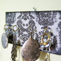 Key Holder / Jewelry Organizer, Shabby Chic, Rustic, Hooks, Black and white