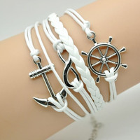 silvery infinity anchor white ropes women ropes leather bracelet women jewelry bangle  1491A