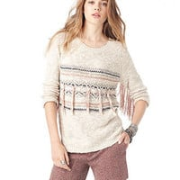 American Rag Juniors Sweater, Long Sleeve Slub-Knit Fringe - Juniors Sweaters - Macy's