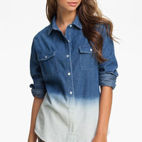 Pretty Rebel Dip Dye Chambray Shirt (Juniors) | Nordstrom
