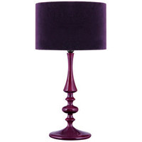 Heal's | Aubergine Turned Wood Table Lamp with Velvet Shade > Table Lamps