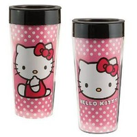 Vandor 18051 Hello Kitty Plastic Travel Mug, Pink, 16-Ounce