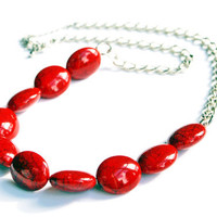 Red Crackle Bead Necklace on Silver Chain
