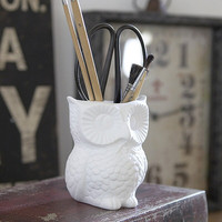 Owl pencil pot vase