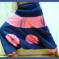 Harem Pants -Loose Handmade Tie and Dye Bohemian Maxi Genie Gypsy boho Alibaba Baggy festival Burning man Fisher man yoga Harem Pant Trouser