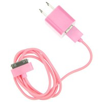 EarlyBirdSavings Wall Charger + 0.9M 3Ft Data Sync Cable Cord Pink for iPod Touch iPhone 3GS 4 4S