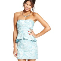Speechless Juniors Dress, Strapless Jacquard-Print Peplum - Juniors Dresses - Macy's
