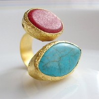 Coral and Turquoise stone dual or Double 22K Gold