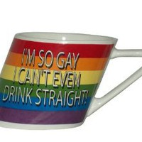 Rainbow I'm So Gay/slant Mug, 14oz: Health & Personal Care