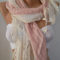 Romantic Pink  /  Elegant Scarf  with Lace Edge.