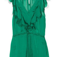 Rebecca Taylor|Fringed satin blouse|NET-A-PORTER.COM
