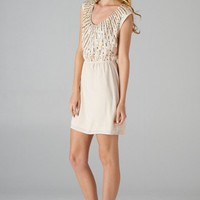 Beaded and Sequined Top Short Sleeve Dress (Taupe)