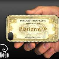 iPhone 4 case, Harry Potter inspired Hogwarts Ticket design, custom cell phone case