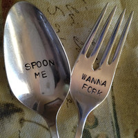 vintage silverware hand stamped spoon and fork set