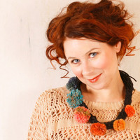 Crochet necklace Knit necklace Pompom necklace Black orange blue Winter accessories Gift for her Warm necklace Cozy necklace Fiber necklace