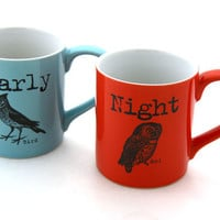 Mr and Mrs Mug set Personalized owl and bird