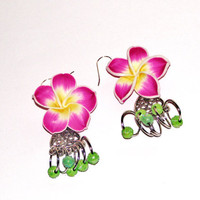 Plumeria jewelry earrings pink purple yellow flowers dangle