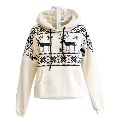 Winter Womens Deer Hooded Hedging Loose Sweater Coat 3 Colors New Arrival Super (White)