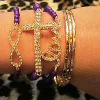 Purple and Gold Love Infinity Side Cross Arm Candy Bracelets Cuff Set (6) New